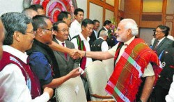 Prime Minister Narendra Modi with the NSCN leaders at the signing ceremony of historic peace accord, in New Delhi. PTI