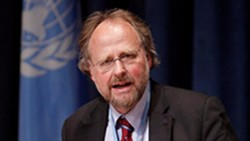 Heiner Bielefeldt, Special Rapporteur on freedom of religion or belief said the concern raised by the civil society organisations about the shrinking space for public engagement should anyhow be taken very seriously. Photo: UN/Paulo Filgueiras